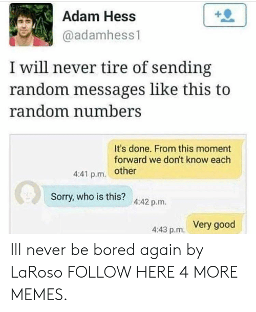 Bored, Dank, and Memes: Adam Hess  @adamhess1  I will never tire of sending  random messages like this to  random numberS  It's done. From this moment  forward we don't know each  4:41 p.m. other  Sorry, who is this?  4:42 p.m.  Very good  4:43 p.m. Ill never be bored again by LaRoso FOLLOW HERE 4 MORE MEMES.