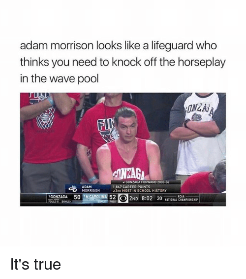 Memes, School, and True: adam morrison looks like a lifeguard who  thinks you need to knock off the horseplay  in the wave pool  A GONZAGA FORWARD  ADAM  1,867 CAREER POINTS  MORRISON  13RD MOST IN SCHOOL HISTORY  GONZAGA 50  52 2ND 8:02 30  NATIONAL CHAMPIONSHIP It's true
