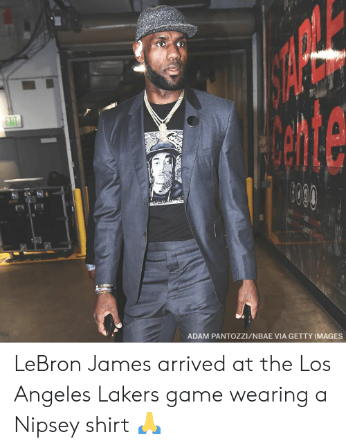 Los Angeles Lakers, LeBron James, and Los-Angeles-Lakers: ADAM PANTOZZI/NBAE VIA GETTY IMAGES LeBron James arrived at the Los Angeles Lakers game wearing a Nipsey shirt 🙏