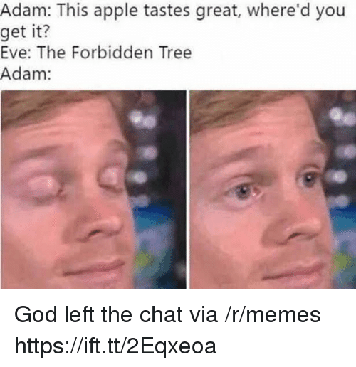 Apple, God, and Memes: Adam: This apple tastes great, where'd you  get  it?  Eve: The Forbidden Tree  Adam: God left the chat via /r/memes https://ift.tt/2Eqxeoa