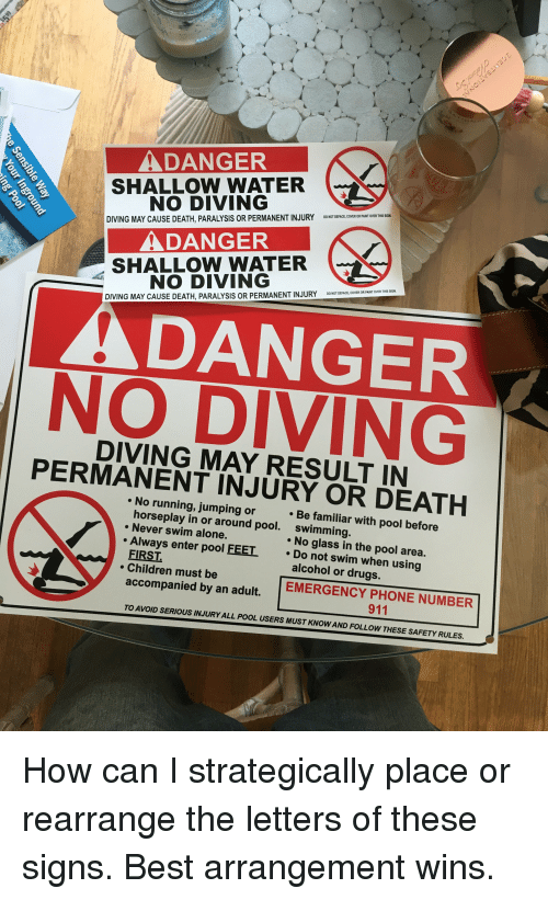 Adanger Shallow Water No Diving Diving May Cause Death Paralysis Or