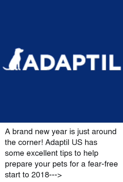 Memes, New Year's, and Pets: ADAPTIL A brand new year is just around the corner! Adaptil US has some excellent tips to help prepare your pets for a fear-free start to 2018--->
