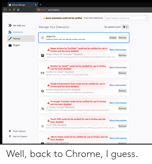 Add-Ons Manager Firefox Aboutaddons Some Extensions Could