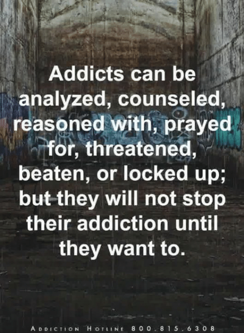 Memes, 🤖, and Can: Addicts can be  analyzed, counseled,  reasoned with, prayed  -for, threatened  beaten, or locked up;  but they will not stop  their addiction until  they want to.  A D DICTION H OTIINE 800 8 1 5.6 3 0 8
