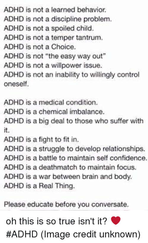 ADHD Is Not a Learned Behavior ADHD Is Not a Discipline