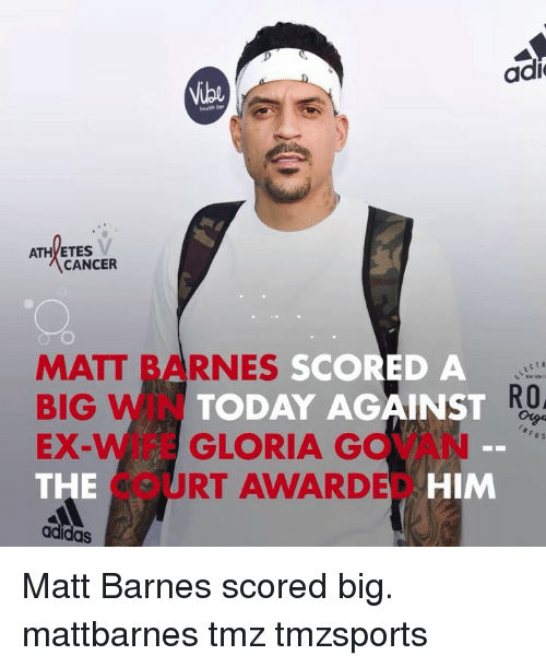 Adidas, Memes, and Matt Barnes: adi  Vibe  healgh bar  ATHYETES  CANCER  MATT BARNES  SCORED A  ECTR  BIG WIN  EX-WIFE GLORIA GOVAN  THE  adidas  TODAY AGAINST  RO,  COURT AWARDED  DE HIM Matt Barnes scored big. mattbarnes tmz tmzsports