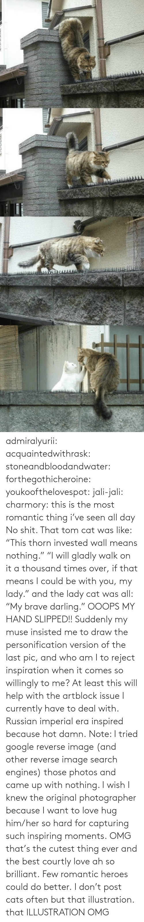 """Cats, Google, and Love: admiralyurii: acquaintedwithrask:  stoneandbloodandwater:  forthegothicheroine:  youkoofthelovespot:  jali-jali:  charmory:  this is the most romantic thing i've seen all day  No shit. That tom cat was like: """"This thorn invested wall means nothing."""" """"I will gladly walk on it a thousand times over, if that means I could be with you, my lady."""" and the lady cat was all: """"My brave darling."""" OOOPS MY HAND SLIPPED!!  Suddenly my muse insisted me to draw the personification version of the last pic, and who am I to reject inspiration when it comes so willingly to me? At least this will help with the artblock issue I currently have to deal with. Russian imperial era inspired because hot damn. Note: I tried google reverse image (and other reverse image search engines) those photos and came up with nothing. I wish I knew the original photographer because I want to love hug him/her so hard for capturing such inspiring moments.  OMG that's the cutest thing ever and the best courtly love ah so brilliant.  Few romantic heroes could do better.  I don't post cats often butthat illustration.  that ILLUSTRATION    OMG"""