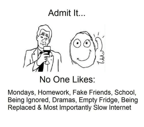 Fake, Friends, and Internet: Admit It...  No One Likes:  Mondays, Homework, Fake Friends, School,  Being Ignored, Dramas, Empty Fridge, Being  Replaced & Most Importantly Slow Internet