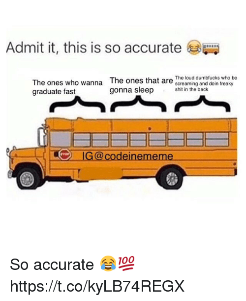Shit, Back, and Who: Admit it, this is so accurate  The ones who wanna  graduate fast  The ones that are The loug dumblucks who be  screaming and doin freaky  shit in the back  G@codeinememe So accurate 😂💯 https://t.co/kyLB74REGX