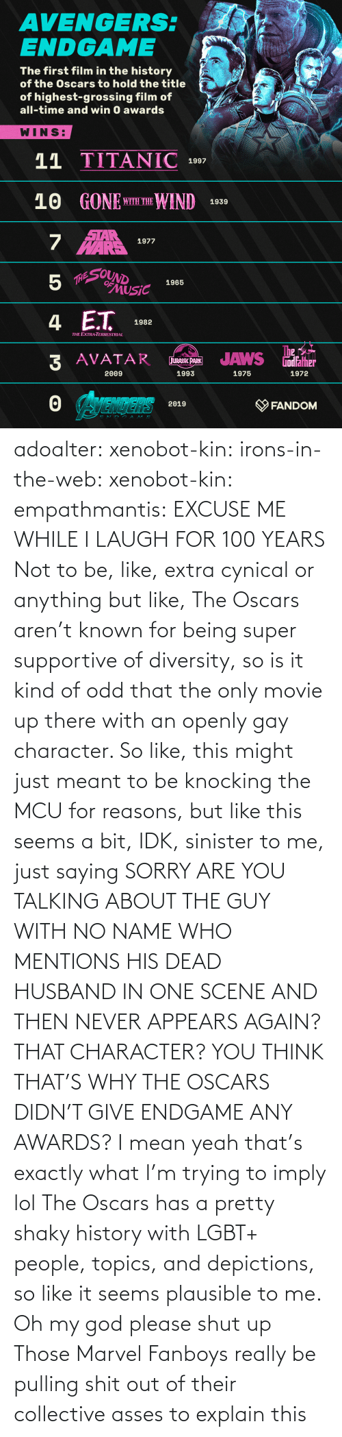 Be Like, God, and Lgbt: adoalter: xenobot-kin:   irons-in-the-web:  xenobot-kin:   empathmantis: EXCUSE ME WHILE I LAUGH FOR 100 YEARS Not to be, like, extra cynical or anything but like, The Oscars aren't known for being super supportive of diversity, so is it kind of odd that the only movie up there with an openly gay character. So like, this might just meant to be knocking the MCU for reasons, but like this seems a bit, IDK, sinister to me, just saying    SORRY ARE YOU TALKING ABOUT THE GUY WITH NO NAME WHO MENTIONS HIS DEAD HUSBAND IN ONE SCENE AND THEN NEVER APPEARS AGAIN? THAT CHARACTER? YOU THINK THAT'S WHY THE OSCARS DIDN'T GIVE ENDGAME ANY AWARDS?  I mean yeah that's exactly what I'm trying to imply lol The Oscars has a pretty shaky history with LGBT+ people, topics, and depictions, so like it seems plausible to me.    Oh my god please shut up    Those Marvel Fanboys really be pulling shit out of their collective asses to explain this