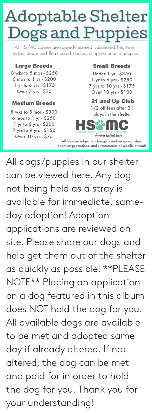 Animals, Club, and Dogs: Adoptable Shelter  Dogs and Puppies  All HSoMC canines are spayed/neutered, vaccinated, heartworm  tested, dewormed, flea treated, and microchipped prior to adoption  Large Breeds  8 wks to 5 mos - $250  6 mos to 1 yr $200  1 yr to 6 yrs $175  Over 7 yrs- $75  Small Breeds  Under 1 yr $350  1 yr to 6 yrs- $250  7 yrs to 10 yrs $175  Over 10 yrs $100  21 and Up Club  1/2 off fees after 21  days in the shelter  Medium Breeds  8 wks to 5 mos $300  6 mos to 1 yr $250  1 yr to 6 yrs- $200  7 yrs to 9 yrs $150  Over 10 yrs- $75  NEForever begj  HUMANE SOCIETY OF MIDLAND COUNTY  ns here  All fees are subject to change based on sponsorship,  adoption promotions, and circumstance of specific animals All dogs/puppies in our shelter can be viewed here. Any dog not being held as a stray is available for immediate, same-day adoption! Adoption applications are reviewed on site. Please share our dogs and help get them out of the shelter as quickly as possible! **PLEASE NOTE** Placing an application on a dog featured in this album does NOT hold the dog for you. All available dogs are available to be met and adopted same day if already altered. If not altered, the dog can be met and paid for in order to hold the dog for you. Thank you for your understanding!