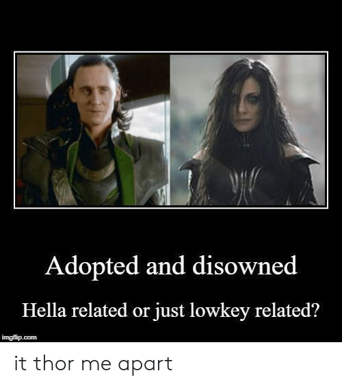 Thor, Lowkey, and Com: Adopted and disowned  Hella related or just lowkey related?  imgflip.com it thor me apart