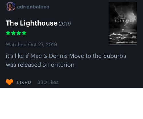 Thought, Mac, and Criterion: adrianbalboa  THE  LIGHTHOUSE  The Lighthouse 2019  Watched Oct 27, 2019  it's like if Mac & Dennis Move to the Suburbs  was released on criterion  330 likes  LIKED Thought this might interest you guys