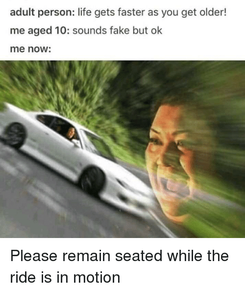 Fake, Life, and Adult: adult person: life gets faster as you get older!  me aged 10: sounds fake but ok  me no: Please remain seated while the ride is in motion