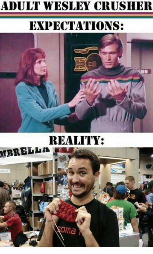 Memes, Reality, and 🤖: ADULT WESLEY CRUSHER  EXPECTATIONS:  REALITY:  oma