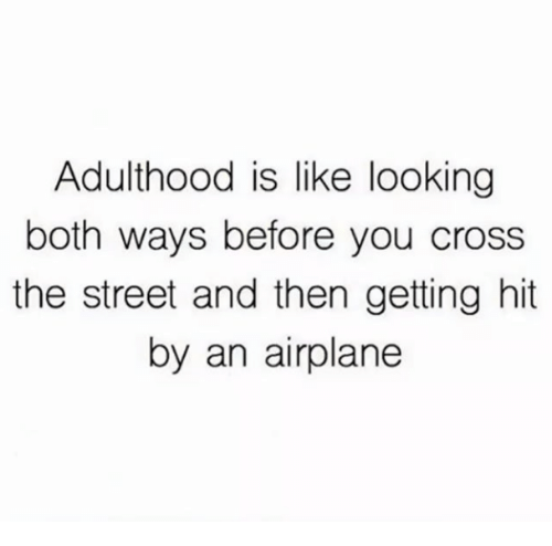 Airplane, Cross, and Looking: Adulthood is like looking  both ways before you cross  the street and then getting hit  by an airplane