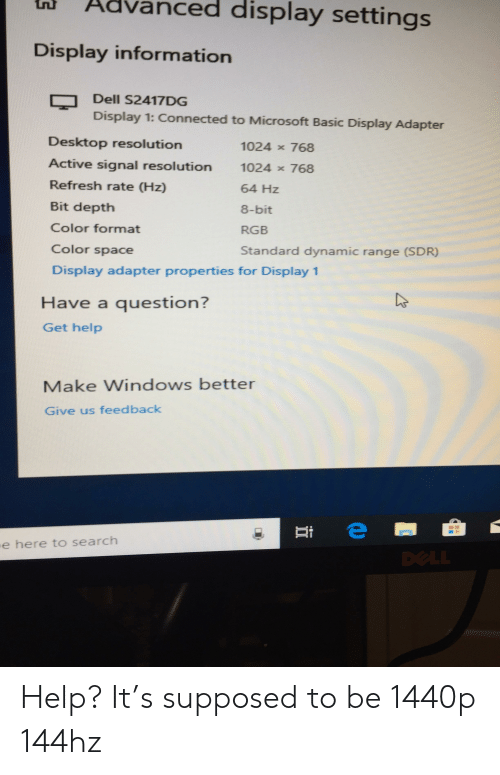Advanced Display Settings Display Information Dell S2417DG