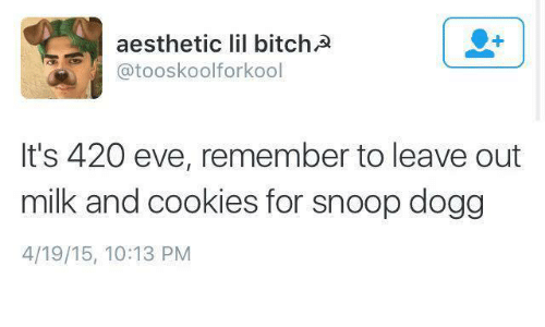 Dank, Snoop, and Snoop Dogg: aesthetic lil bitchA  atooskoolforkool  It's 420 eve, remember to leave out  milk and cookies for snoop dogg  4/19/15, 10:13 PM