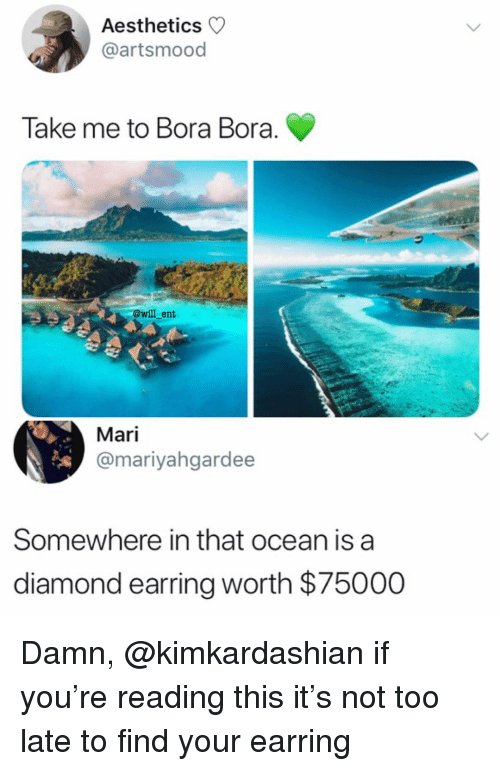Memes, Diamond, and Ocean: Aesthetics  @artsmood  Take me to Bora Bora  @will ent  Mari  @mariyahgardee  Somewhere in that ocean is a  diamond earring worth $75000 Damn, @kimkardashian if you're reading this it's not too late to find your earring