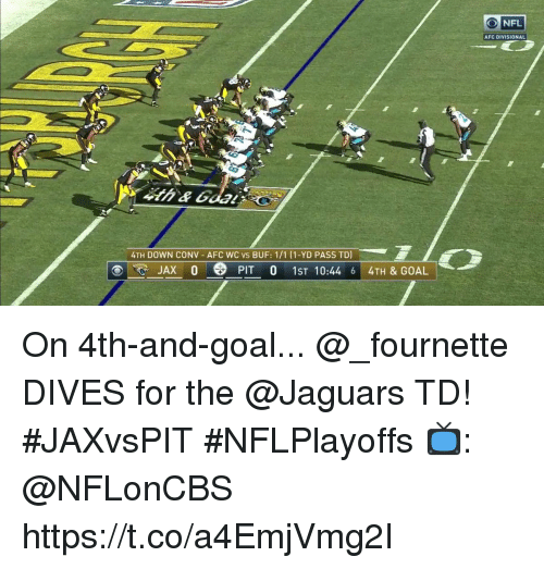 Memes, Goal, and 🤖: AFC DIVISIONAL  4TH DOWN CONV AFC WC vs BUF: 1/1 (1-YD PASS TD  JAX 0  PIT 0 1ST 10:44 6 4TH & GOAL On 4th-and-goal...  @_fournette DIVES for the @Jaguars TD! #JAXvsPIT #NFLPlayoffs  📺: @NFLonCBS https://t.co/a4EmjVmg2I