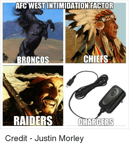 afcwestintimidation factor chiefs broncos raiders chargers credit justin morley 19215577 ✅ 25 best memes about broncos raiders broncos raiders memes