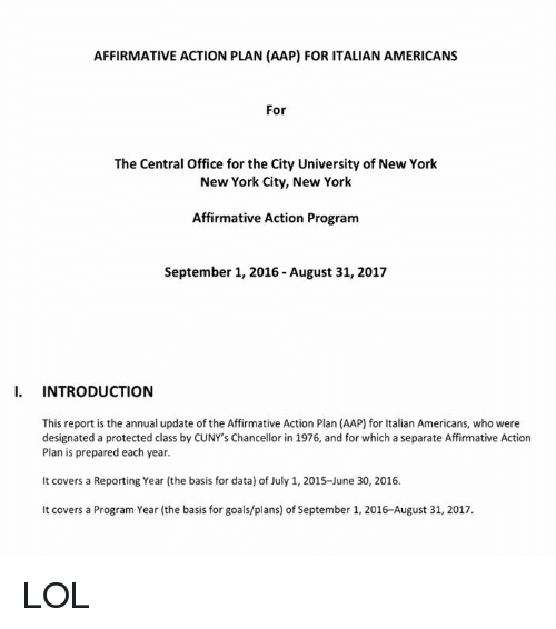 AFFIRMATIVE ACTION PLAN AAP FOR ITALIAN AMERICANS for the Central ...