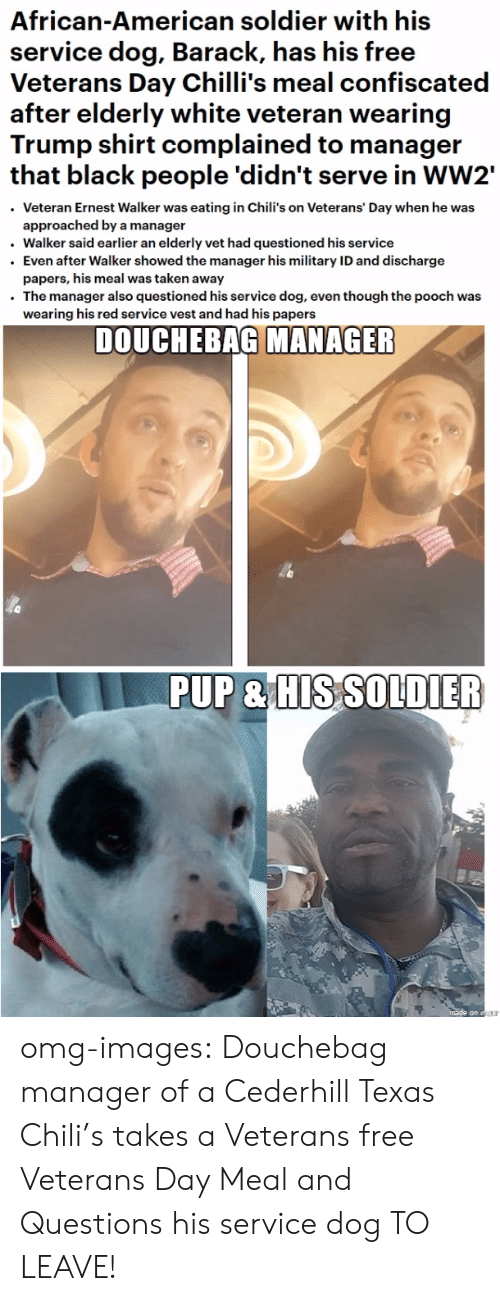 Chilis, Douchebag, and Omg: African-American soldier with his  service dog, Barack, has his free  Veterans Day Chilli's meal confiscated  after elderly white veteran wearing  Trump shirt complained to manager  that black people 'didn't serve in WW2'  Veteran Ernest Walker was eating in Chili's on Veterans' Day when he was  approached by a manager  . Walker said earlier an elderly vet had questioned his service  . Even after Walker showed the manager his military ID and discharge  papers, his meal was taken away  The manager also questioned his service dog, even though the pooch was  wearing his red service vest and had his papers  DOUCHEBAG MANAGER  PUP&HIS SO DILER omg-images:  Douchebag manager of a Cederhill Texas Chili's takes a Veterans free Veterans Day Meal and Questions his service dog TO LEAVE!