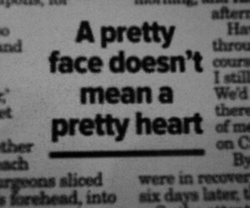 Heart, Mean, and Face: after  На  A pretty dhrn  face doesn't sou  tp  I still  mean a Wed  retty heart of me  slioed were in recover  orehead, into six days later t