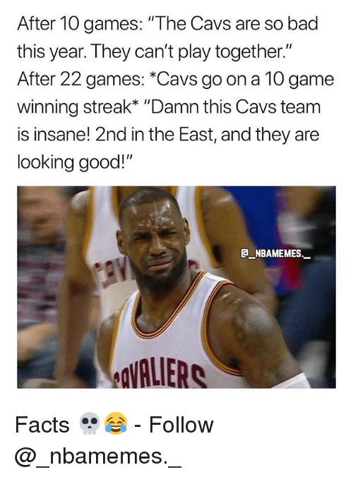 """Bad, Cavs, and Facts: After 10 games: """"The Cavs are so bad  this year. They can't play together.""""  After 22 games: *Cavs go on a 10 game  winni  is insane! 2nd in the East, and they are  looking good!""""  ng streak* """"Damn this Cavs team  e_NBAMEMEs._  VALIERS Facts 💀😂 - Follow @_nbamemes._"""