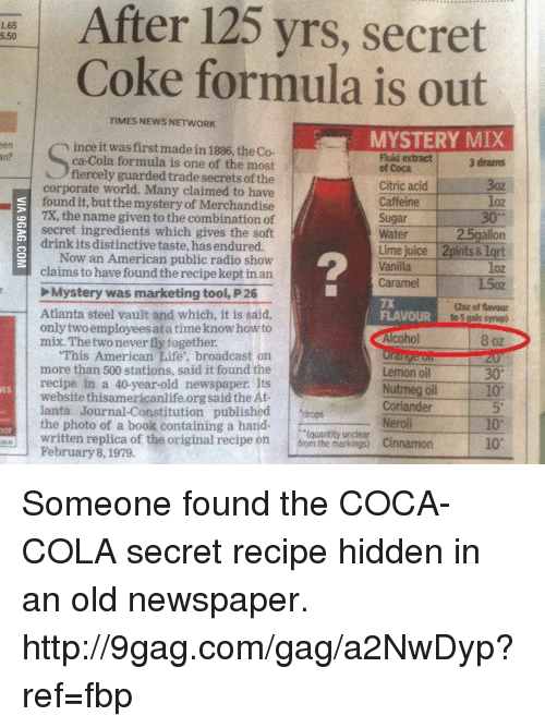 After 125 Yrs Secret Coke Form...