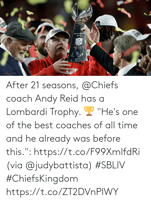 """Andy Reid, Memes, and Best: After 21 seasons, @Chiefs coach Andy Reid has a Lombardi Trophy. 🏆  """"He's one of the best coaches of all time and he already was before this."""": https://t.co/F99XmlfdRi (via @judybattista) #SBLIV #ChiefsKingdom https://t.co/ZT2DVnPlWY"""