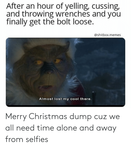 Being Alone, Christmas, and Memes: After an hour of yelling, cussing,  and throwing wrenches and you  finally get the bolt loose.  @shitbox.memes  Almost lost my cool there. Merry Christmas dump cuz we all need time alone and away from selfies