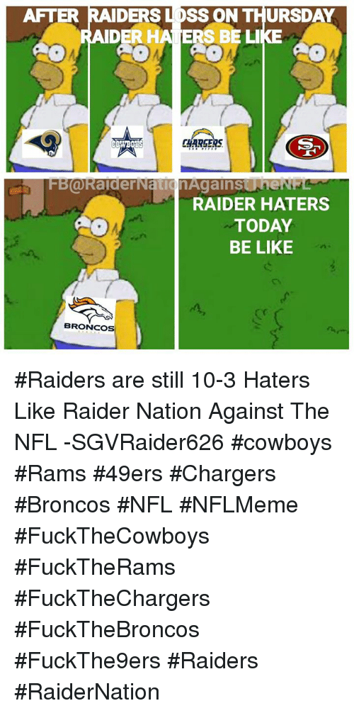 After Ders Loss On Thursday Ider Haters Be Like Sr Chargers Cowboys