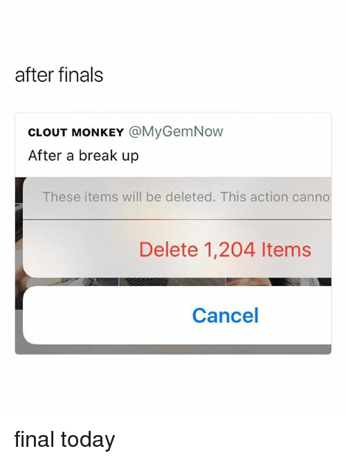 Finals, Break, and Monkey: after finals  CLOUT MONKEY @MyGemNow  After a break up  These items will be deleted. This action canno  Delete 1,204 ltems  Cancel final today