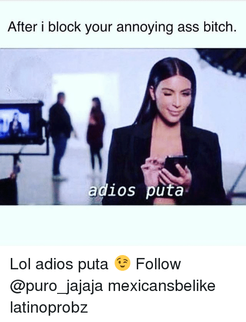 Ass, Bitch, and Lol: After i block your annoying ass bitch.  adlos puta Lol adios puta 😉 Follow @puro_jajaja mexicansbelike latinoprobz