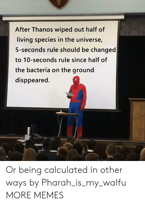 Dank, Memes, and Target: After Thanos wiped out half of  living species in the universe,  5-seconds rule should be changed  to 10-seconds rule since half of  the bacteria on the ground  disppeared. Or being calculated in other ways by Pharah_is_my_waIfu MORE MEMES