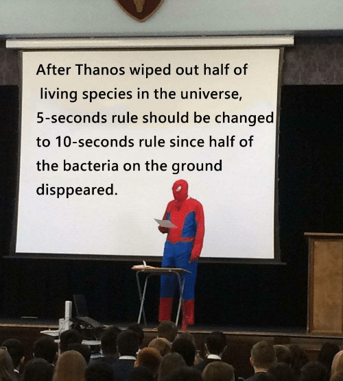 Living, Thanos, and Universe: After Thanos wiped out half of  living species in the universe,  5-seconds rule should be changed  to 10-seconds rule since half of  the bacteria on the ground  disppeared.