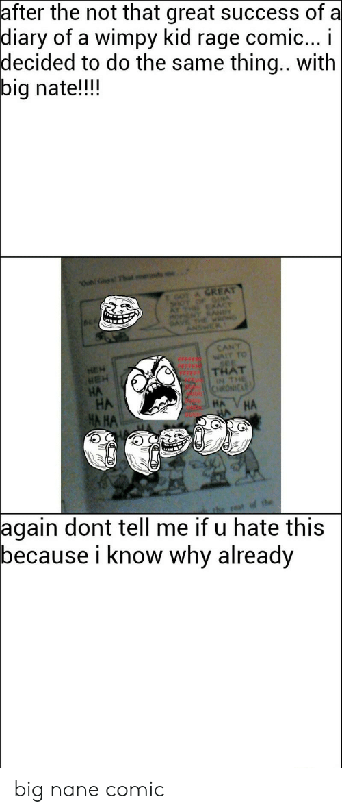 Success, Diary of a Wimpy Kid, and Rage: after the not that great success of a  diary  of a wimpy kid rage comic... I  decided to do the same thing.. with  big nate!!!  A GREAT  CANT  HEH  THAT  HA  HA HA  НА  again  dont tell me if u hate this  because i know why already big nane comic