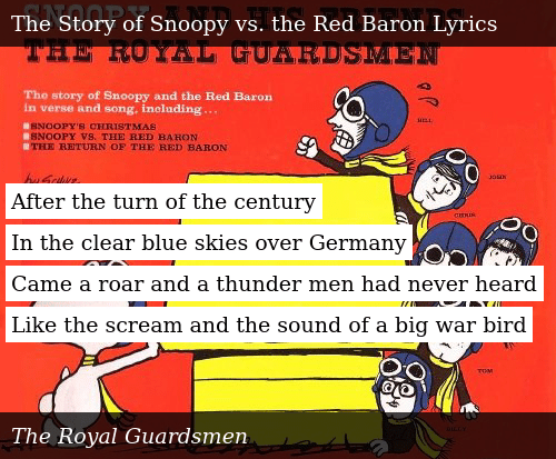 Snoopys Christmas Lyrics.After The Turn Of The Century In The Clear Blue Skies Over
