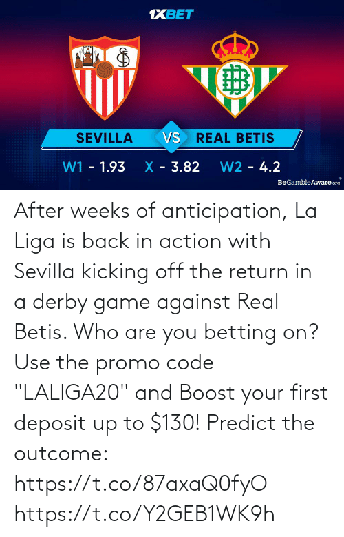 """Memes, Boost, and Game: After weeks of anticipation, La Liga is back in action with Sevilla kicking off the return in a derby game against Real Betis. Who are you betting on?  Use the promo code """"LALIGA20"""" and Boost your first deposit up to $130!   Predict the outcome: https://t.co/87axaQ0fyO https://t.co/Y2GEB1WK9h"""
