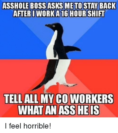 Ass, All, and What: AFTERIWORK A 16 HOURSHIFT  TELL ALL MY CO WORKERS  WHAT AN ASS HEIS I feel horrible!