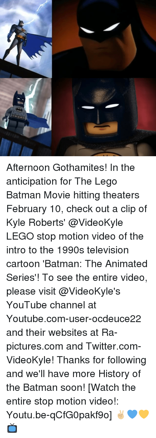 Memes, Legos, and Television: Afternoon Gothamites! In the anticipation for The Lego Batman Movie hitting theaters February 10, check out a clip of Kyle Roberts' @VideoKyle LEGO stop motion video of the intro to the 1990s television cartoon 'Batman: The Animated Series'! To see the entire video, please visit @VideoKyle's YouTube channel at Youtube.com-user-ocdeuce22 and their websites at Ra-pictures.com and Twitter.com-VideoKyle! Thanks for following and we'll have more History of the Batman soon! [Watch the entire stop motion video!: Youtu.be-qCfG0pakf9o] ✌🏼️💙💛📺