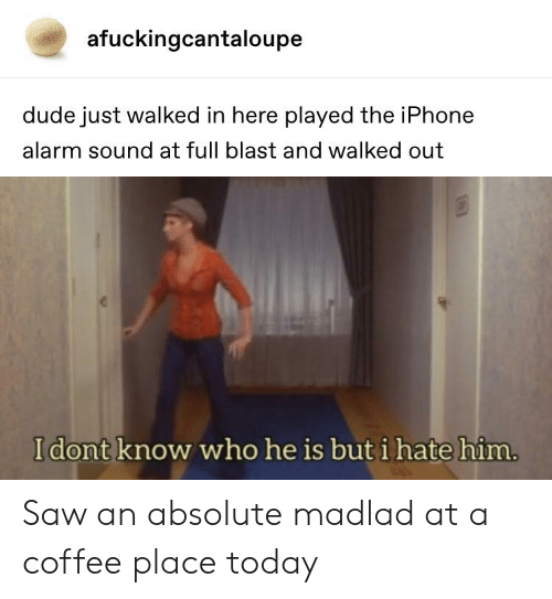 Dude, Iphone, and Saw: afuckingcantaloupe  dude just walked in here played the iPhone  alarm sound at full blast and walked out  I dont know who he is but i hate him Saw an absolute madlad at a coffee place today
