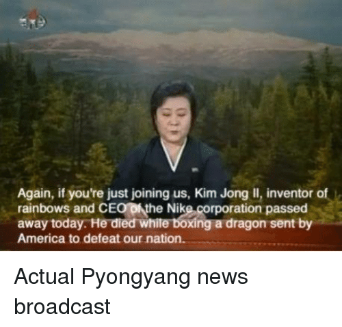 America, Dank, and Kim Jong-Il: Again, if you're just joining us, Kim Jong Il, inventor of  rainbows and CE  ofthe Nike corporation passed  away today. He died  Xing a dragon sent by  America to defeat our nation. Actual Pyongyang news broadcast