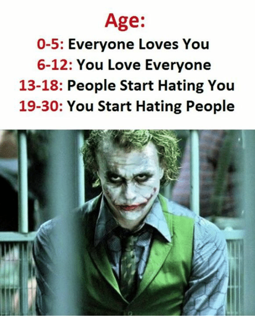 Love, You, and People: Age:  0-5  Everyone Loves You  6-12: You Love Everyone  13-18  People Start Hating You  19-30: You Start Hating People