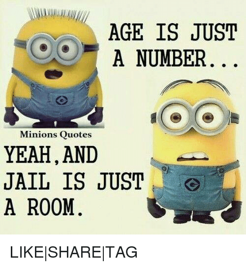 Age Is Just A Number Minions Quotes Yeah And Jail Is Just A Room