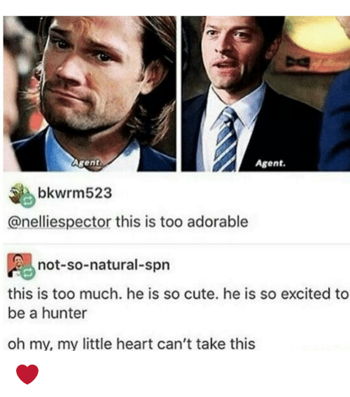 Memes, 🤖, and My Little: Agent.  Agent  bkwrm523  anelliespector this is too adorable  not-so-natural-spn  this is too much. he is so cute. he is so excited to  be a hunter  oh my, my little heart can't take this ❤