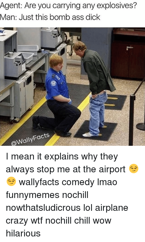 Agent Are You Carrying Any Explosives Man Just This Bomb Ass Dick Facts I Mean It Explains Why They Always Stop Me At The Airport  F0 9f 98 8f F0 9f 98 8f Wallyfacts Comedy