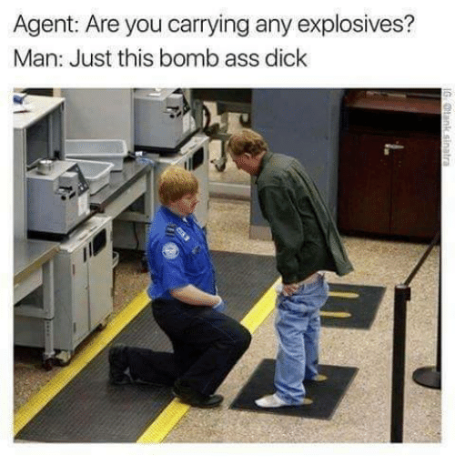 Agent Are You Carrying Any Explosives Man Just This Bomb Ass Dick Meme On Me Me