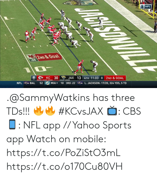 Memes, Nfl, and Sports: AGHISONVILL  NFL  62ND &Goal  08  2ND & GOAL  JAX 13 4TH 11:03 8  30  KC  L. JACKSON: 17/20, 324 YDS, 5 TD  MIA 10 3RD :22  52  BAL  NFL .@SammyWatkins has three TDs!!! 🔥🔥 #KCvsJAX  📺: CBS 📱: NFL app // Yahoo Sports app  Watch on mobile: https://t.co/PoZiStO3mL https://t.co/o170Cu80VH